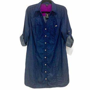 Guess Chambray Button Up Shirt Dress Blue LG NWT
